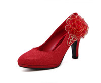 Wholesale lace wedding cuff for sale - Group buy Summer adult women s new Chinese style female cuff round head red high heels cm