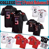 futebol da faculdade eua venda por atacado-5 Patrick Mahomes Homens da bandeira dos EUA Jersey Texas Tech NCAA costurado College Football Jerseys