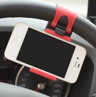 универсальная подставка оптовых-Автомобильный руль Держатель стенд для Универсальный Мобильный сотовый телефон GPS держатель руль клип держатель стенд LJJK1153