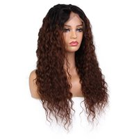 Wholesale human hair curly ombre wigs resale online - Curly Wig Full Lace Wig Pre Plucked With Baby Hair Ombre Color Brazilian Lace Front Human Hair Wigs