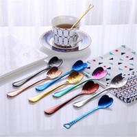 Wholesale coffee spoon wedding favors resale online - 7 colors styles ice cream spoon coffee tea measuring spoon wedding lover favors stainless steel dinner tableware