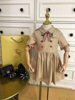 mädchen weiße spitze schlüpfer großhandel-2019 sommer baby mädchen kleid Khaki Britischen stil Kurzarm Kleid kinder kleidung casual fashion kleider kinder kleidung mädchen ABD-20