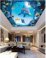 techo de pesca al por mayor-Custom Large Ceiling Zenith Mural Photo Wallpaper Mundo submarino dolphin fish sala de estar dormitorio cenit techo mural