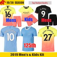uniformes venda por atacado-19 20 Camisa de futebol Manchester City 125th years STERLING 2019 2020 Man City 125 anos DE BRUYNE KUN AGUERO Camisa de futebol MAHREZ SILVA FODEN Camisa
