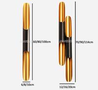 ingrosso lampade a tubo nero-Moderna applique a parete 2700K bianco caldo applique a LED su tubo in alluminio ala 2 luci nero dorato nordico lampada da parete