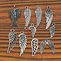 alas de angel tibetano al por mayor-Mezcla de plata tibetana plateada ángel hadas alas encantos colgantes joyería que hace diy resultados de la joyería de aleación de zinc m015