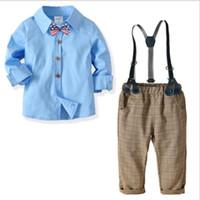 neue modellkleidjungen großhandel-2019 New Kids'Suit Boys 'Cotton Shirt Hose Gentlemen's Four Kids'Dresses Kinder-Bankettkleider passen zu den meistverkauften neuen Modellen GRÖSSE