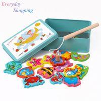 juguetes de peces para niños al por mayor-Bebé Juguete Educativo Para Niños Caja de Hierro Pesca Juego de Madera Juego de La Novedad Juguetes Boy Girl Cognición Juguetes Magnéticos Set Niños Regalos