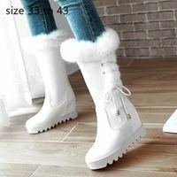 botas para as mulheres cunha branca venda por atacado-botas de pele mulheres brancas mulheres meados de designer botas panturrilha luxo botas botas de inverno sapatos de noiva preto vermelho Tamanho 33-42 43