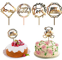 Wholesale cake topping decorations resale online - 50 Styles Cupcake Cake Topper Happy Birthday Cake inserts Cake Top Flags for Love Family Birthday Party Baking Decoration Supplies