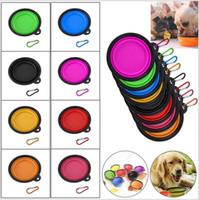 copo de silicone dobrável venda por atacado-Dobrável Pet Dog Cat Tigelas de Alimentação Dobrável Silicone Animais de Estimação Tigelas de Viagem Copos De Água Prato Alimentador para Cães Gatos