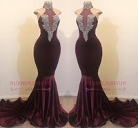 Wholesale prom dresses high neck designs for sale - Group buy Elegant Burgundy High Neck Mermaid Prom Dresses New Design Satin Long Sweep Train Formal Evening Gowns Cheap Party Wear