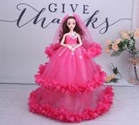 ingrosso set di giocattoli barbie-2019New chiffon 3D bella occhio peluche velluto bambola Barbie confezione regalo per bambini ragazza giocattoli 2pcs
