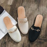 полуботинки оптовых-Ленивые ботинки 2019 летние новые без каблука педаль тапочки женщины носят плоские корейские студенты полутапочки