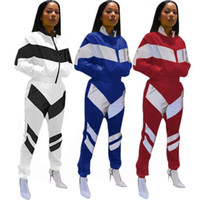 Wholesale standing collar coat pant online - Patchwork Zipper Tracksuit Women Crop Coat Pant set Outdoor Sports Jacket Joggers Set Striped Sportswear OOA6511