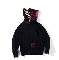 yün kukuletalı hoodies toptan satış-Yün Genç Siyah Camo Baskı Triko Hoodies Erkek Kadın Streetwear İki Kap Giyebilir Kapüşonlu Hoodies Ceket M-XXXL