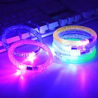 anillos de parpadeo led al por mayor-Pulsera LED flash de parpadeo resplandor cambiante del color del anillo de acrílico Juguetes para niños lámpara de mano luminosa emisores de luz electrónicos pulsera luminosos Juguetes