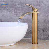 antik pirinç banyo su muslukları toptan satış-Banyo Havzası Musluk Pirinç Antik Bronz Biten Musluk Evye Mikser Dokunun Vanity Sıcak Soğuk Su Banyo Muslukları