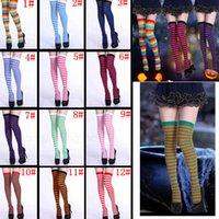 knie lange enge kleider großhandel-12styles Frauen gestreifte Strumpfhose Halloween-Kostüm verkleiden sich lange Kniestrümpfe Leggings Home Party Xmas Supplies FFA2922