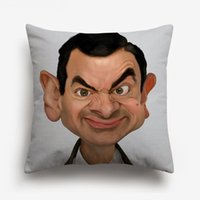 almohadas de frijoles al por mayor-Mr. Bean Rowan Atkinson Dibujo fundas de cojines divertido Cojín Retrato lindo de la cubierta del sofá banda decorativa Funda de almohada de algodón de lino