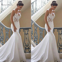 Wholesale size 14 summer wedding dress resale online - Sexy White Spaghetti Straps Mermaid Wedding Dresses Lace Backless Bridal Gowns Sleeveless Formal Party Wear robe de marriage