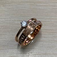 14k 18k elmas yüzük toptan satış-2019 Moda Popüler Avrupa ABD Takı Marka Tasarımcısı Paslanmaz Çelik 14 k gül altın kadınlar düğün nişan pırlanta yüzük anillos