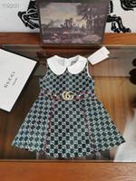 impressão de colete de bebê venda por atacado-Menina Retail babados impressos doces vestidos Bebês Crianças Primavera Outono crianças de vestido sem mangas colete roupas