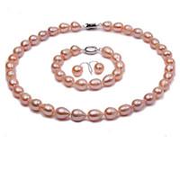 collar de perlas rosa pendiente conjunto al por mayor-Juego de joyas Conjunto de brazalete y aretes de collar de perlas de agua dulce rosa oval natural de 9-10 mm