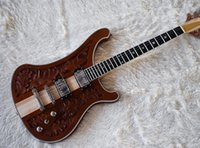 Wholesale hand carving guitar bodies resale online - free shippping Factory Custom Brown Electric Guitar with Carved Pattern Stars Frets Inlay Chrome Hardware Neck Thru Body Can be Customized