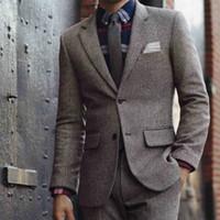 diseñador de esmoquin gris al por mayor-Guapo Gris Novio Esmoquin de la boda Slim Fit Mens Designer Jackets 2 piezas muesca solapa formal Prom Pantalones trajes