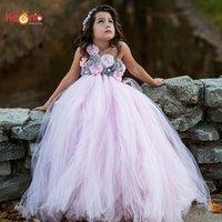 gençler için tutu elbiseleri toptan satış-Pembe ve Gri Çiçek Kız Tutu Elbise Vintage Düğün Çocuk Tül Elbise Genç Doğum Günü Partisi Fotoğraf Elbise El Yapımı DressMX190912