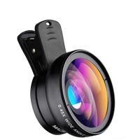 xiaomi geniş mercek toptan satış-Telefon Lens kiti 0.45x Süper Geniş Açı 12.5x Süper Makro Lens HD Kamera Lentes iPhone 6 S 7 Xiaomi için daha cep telefonu