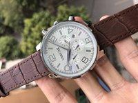 poignet achat en gros de-Black Case Mens Watch Sports 50mm Argent Caoutchouc Noir Mécanique Automatique Main Gauche U montres montres