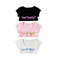 baba tişört toptan satış-Evet baba kadın t shirt mektup baskı kısa kollu elastik spor kısa üst kol yoga kırpma koşu tops