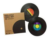 vinyl tischsets groihandel-Umweltfreundliche Plastik-Vinyl-Schallplatten-Tischsets Einfache und kreative Becheruntersetzer Hitzebeständige Tassenauflagen Mit 2,4 oder 6 Stück im Set