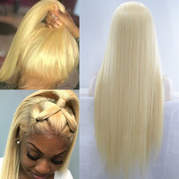 Wholesale 613 lace front synthetic for sale - Group buy Blonde Full Lace Human Hair Wigs Blonde Pre Plucked Lace Front Wigs Brazilian Virgin Straight Hair Transparent Density