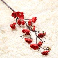 künstliche pflaumenrosen großhandel-Kunstseide Fake Flowers Plum Blossom Floral Rosen künstliche Blumen Wedding Bouquet Partei-Dekor