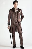 sastre de hombre a medida marrón esmoquin al por mayor-Tailored Fashion Brown Satin Wedding Suit For Men 3 Unidades Por Encargo Tuxedos Mandarín Solapa Prom Último Diseño Delgado Blazer