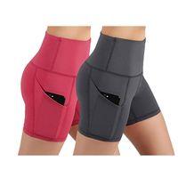 ingrosso corti di compressione rossi-Pantaloncini da yoga a vita alta da donna elasticizzati Stretch Athletic Workout Pantaloncini traspiranti trasparenti con tasca rossa