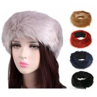 weiße ohrmuscheln großhandel-10 farben Womens Kunstpelz Stirnband Winter warm Schwarz Weiß Natur Mädchen Ohrwärmer Gehörschutz