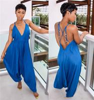 sexy damen tücher großhandel-Tiefem V-Ausschnitt Sexy Frau Overalls Designer Haroun Hosen mit Gürtel Onesies Casual Ladies Loose Cloth