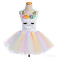 Wholesale knee length dresses for sale resale online - hot sale Unicorn Party Girls TUTU Dress dance Costumes Summer Wedding Dresses For Kids Girl s princess Dresses