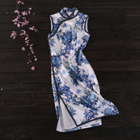 Wholesale blue white porcelain fabric resale online - Silk stretch satin fabric mm cm wide silk printing blue and white porcelain spring and summer cheongsam fabric