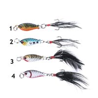 Wholesale mini crankbait resale online - 2 cm g Mini Metal Fishing Jig Lure D Eyes Artificial Bait With Feather Hook Crankbait Lead Jigs Pesca Isca