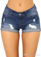 jeans rasgados para mujer algodón al por mayor-Pantalones de la mujer del verano del dril de algodón de los cortocircuitos que ensancha más el tamaño de los pantalones vaqueros pantalones de las mujeres Pantalones Trajes de época Mujer Torn