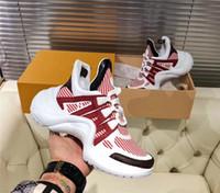 dropship mens moda venda por atacado-2019 retro dos homens das mulheres arco luz sapatilha sapatos formadores de couro para mulheres dos homens de luxo sapatos de grife de moda casual botas ao ar livre dropship