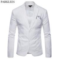 costume blanc en coton achat en gros de-Blanc Coton Lin Léger Costume Veste Hommes 2019 Nouveau Slim Fit Casual Blazer Vestes Hommes Partie De Mariage Marié Blazer Hombre