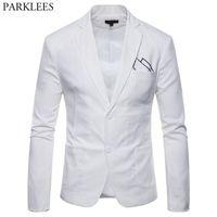 hombre traje de boda ropa al por mayor-Traje ligero de algodón blanco chaqueta de traje de los hombres 2019 nuevo Slim Fit Casual Blazer chaquetas para hombre fiesta de la boda novio Blazer hombre