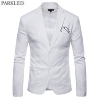 Wholesale linen suit online - White Cotton Linen Lightweight Suit Jacket Men New Slim Fit Casual Blazer Jackets Mens Party Wedding Groom Blazer Hombre