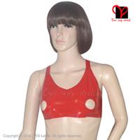 offene lingerie großhandel-Red Sexy Latex Crop Top Offenes Nippel-Loch Gummi-BH Top Dessous Gummi Bikini Unterwäsche Halter Bustier Breast Plus Ny-013 Y19042801